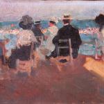 PLA, Cecilio.Óleo sobre lienzo. En la playa.