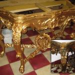 Mesa dorada. Limpieza.