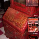 Escritorio de dos cuerpos. Laca roja. S XVIII